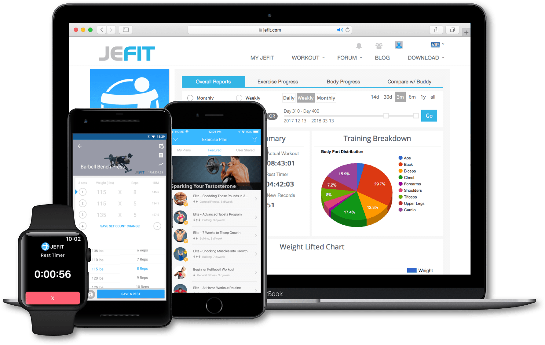 Jefit for iOS Android and Web